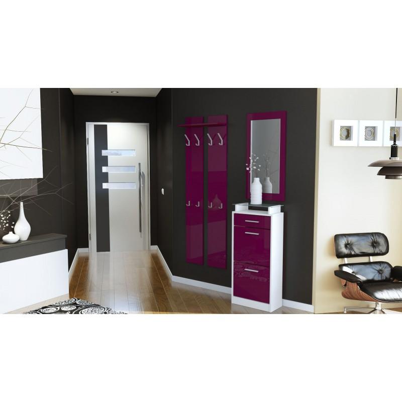 ensemble de hall d 39 entr e laqu design blanc et m re pour meubles d. Black Bedroom Furniture Sets. Home Design Ideas