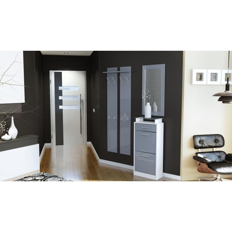 ensemble de hall d 39 entr e laqu design blanc et gris pour meubles d. Black Bedroom Furniture Sets. Home Design Ideas