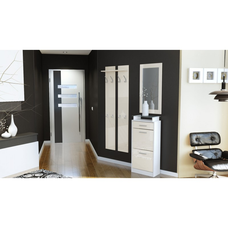 ensemble de hall d 39 entr e laqu design blanc et cr me pour meubles. Black Bedroom Furniture Sets. Home Design Ideas