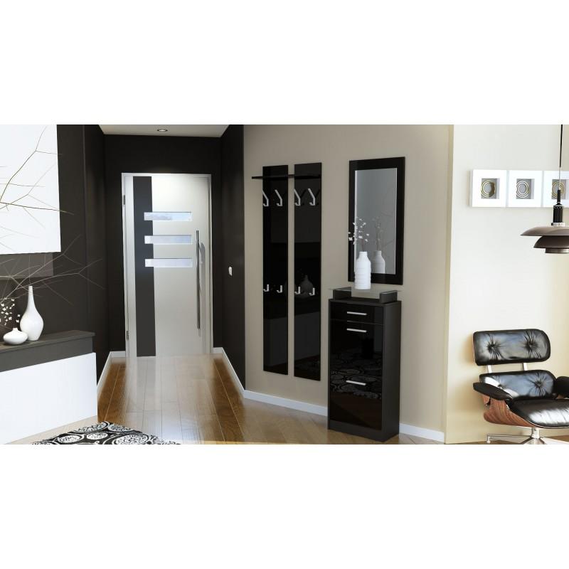 ensemble de hall d 39 entr e laqu design noir pour meubles d. Black Bedroom Furniture Sets. Home Design Ideas