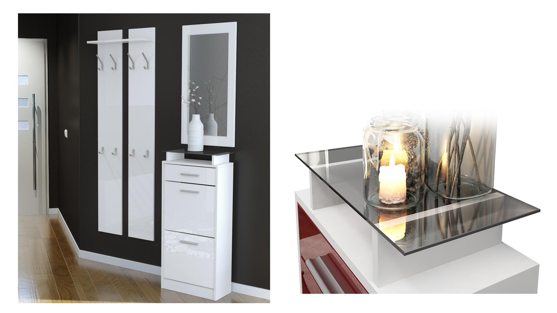 Ensemble De Hall D Entree Laque Design Noir Et Blanc Pour Meubles D