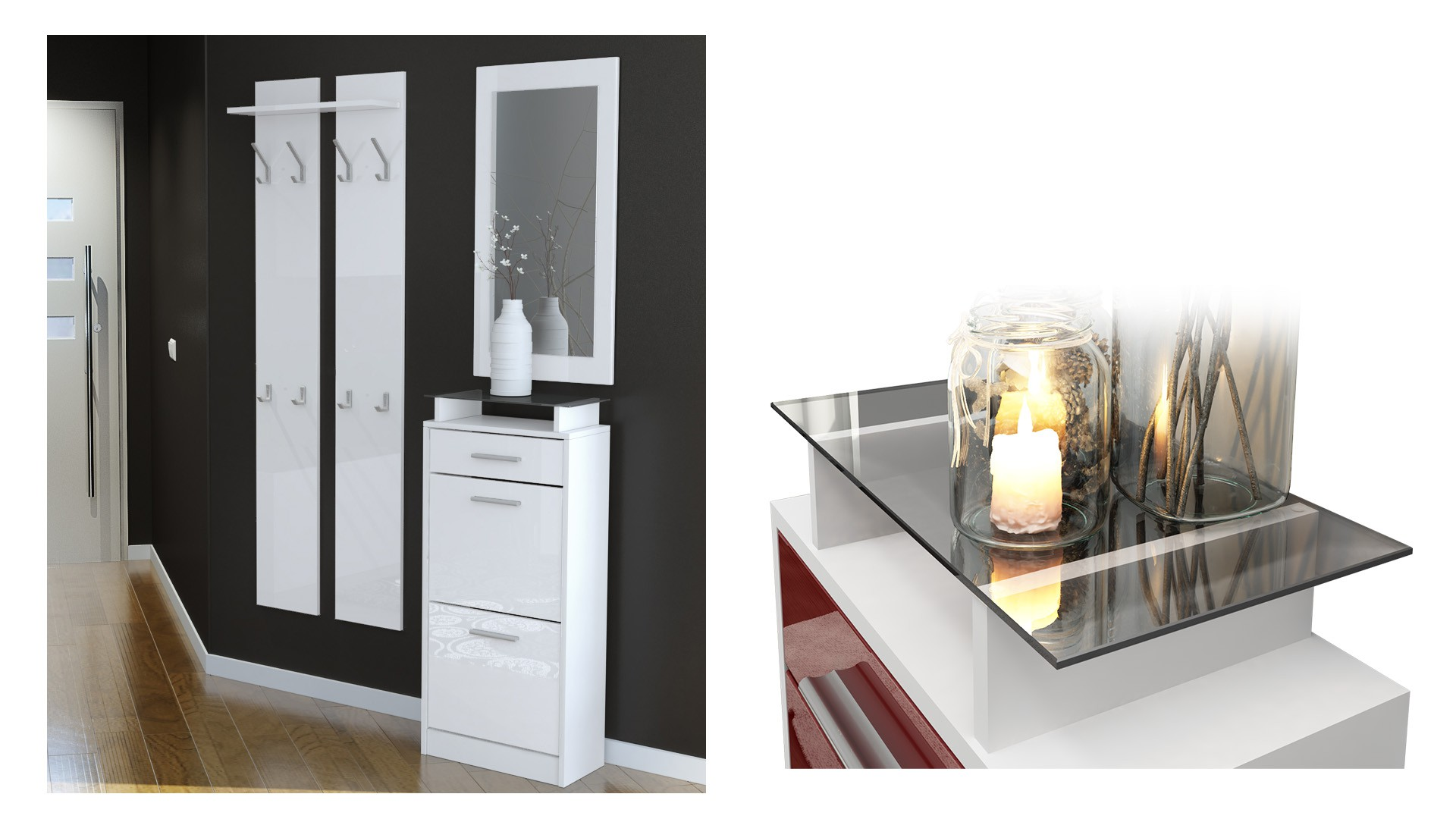 ensemble de hall d 39 entr e laqu design noir et bordeaux pour meuble. Black Bedroom Furniture Sets. Home Design Ideas