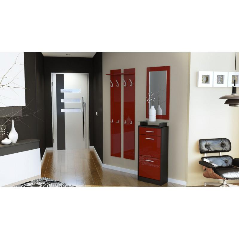 ensemble de hall d 39 entr e laqu design noir et bordeaux pour meuble. Black Bedroom Furniture Sets. Home Design Ideas