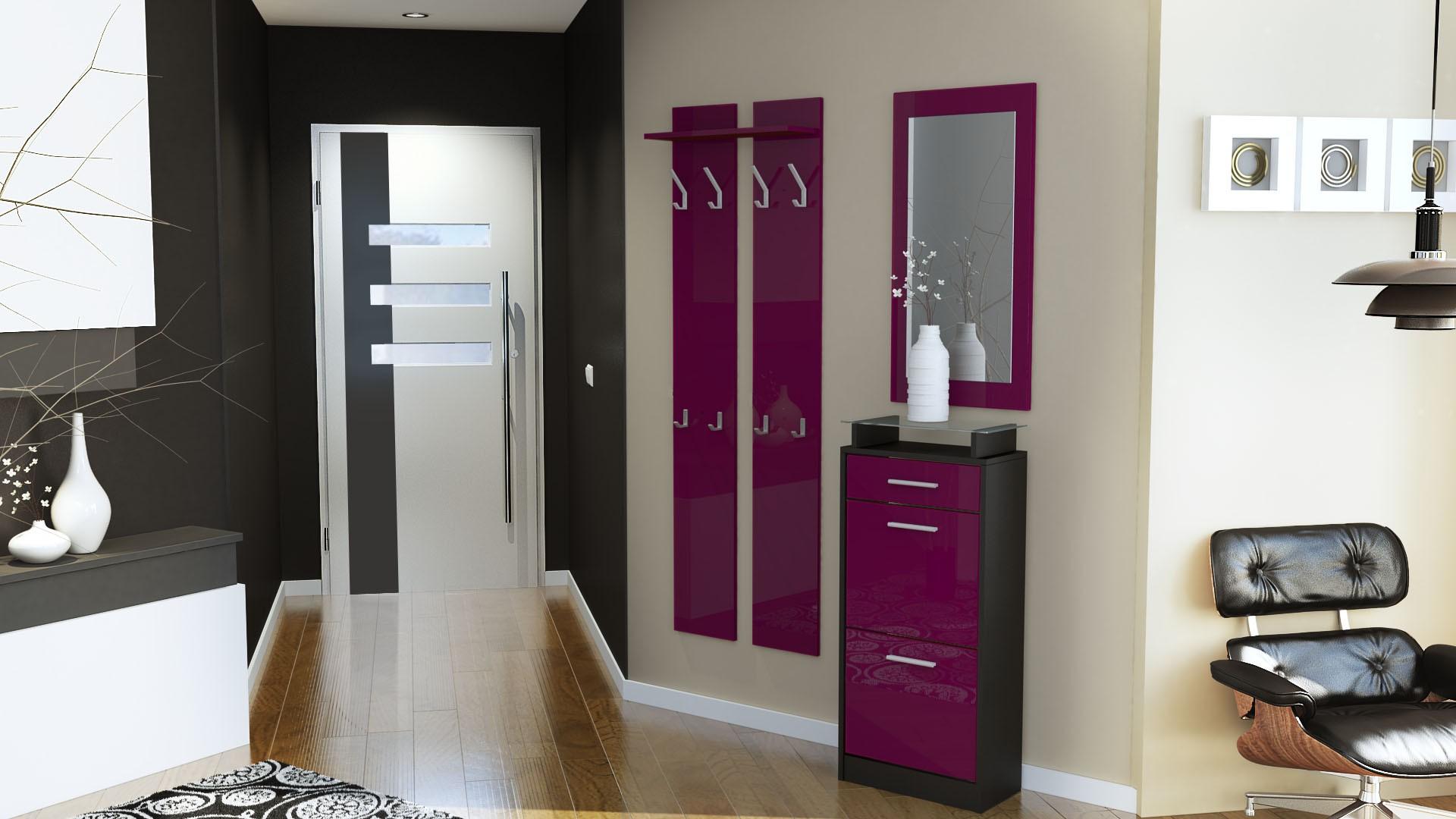 ensemble de hall d 39 entr e laqu design noir et m re pour meubles d 39. Black Bedroom Furniture Sets. Home Design Ideas