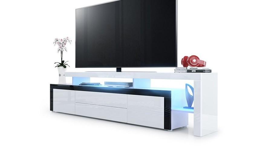 Meuble tv 193 cm laqué blanc / noir avec led