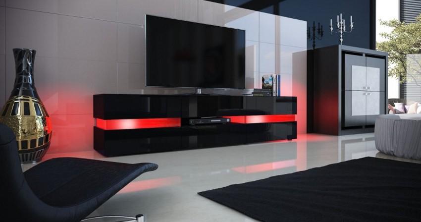 meuble design noir avec facades laquees