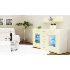 Buffet design laqué blanc portes vitrées 139 cm