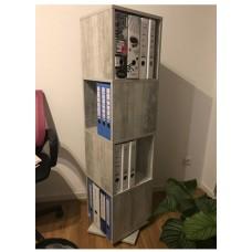Colonne étagère rotative en aspect béton