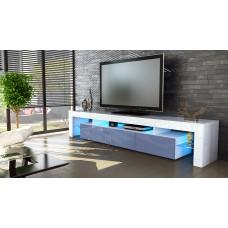 Meuble tv blanc  et  gris 199 cm avec led