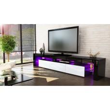 Meuble tv noir et blanc 199 cm avec led
