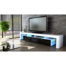 Meuble tv blanc  et noir 199 cm avec led
