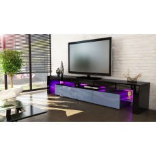 Meuble tv noir et gris199 cm avec led