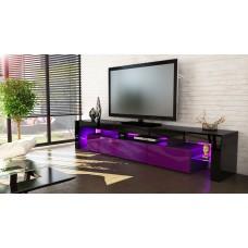 Meuble tv noir et  violet 199 cm avec led