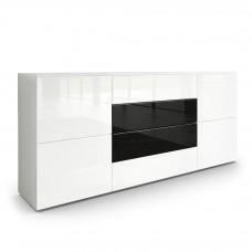 Buffet moderne blanc avec façades laquées et structure mat