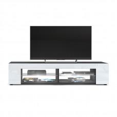 Meuble Tv corps  Noir mat  Façades en Blanc laquées led Blanc