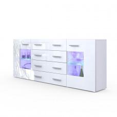 Buffet design laqué blanc portes vitrées avec led 166 cm