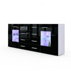 Buffet design laqué blanc et noir  portes vitrées avec led 166 cm