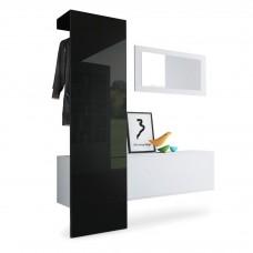 Vestiaire blanc mat panneau Noir laqué