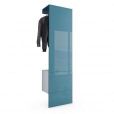 Porte manteaux blanc mat et Turquoise  haute brillance