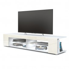 Meuble Tv corps blanc  mat  Façades en crème laquées led Blanc