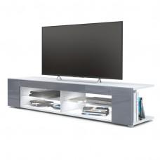 Meuble Tv corps blanc  mat  Façades en gris laquées led Blanc