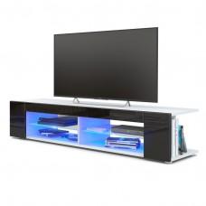 Meuble Tv corps blanc  mat  Façades en noir  laquées led Bleu