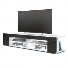 Meuble Tv corps blanc  mat  Façades en noir laquées led Blanc