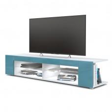Meuble Tv corps blanc  mat  Façades en turquoise laquées led Blanc