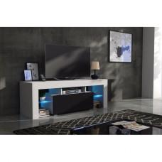 Meuble tv 130 cm corps blanc mat et porte laquée noir avec led