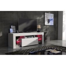 Meuble tv 130 cm corps blanc mat et porte laquée avec led