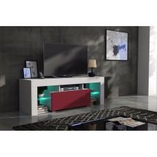Meuble tv 130 cm corps blanc mat et porte laquée bordeaux avec led