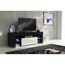 Meuble tv 130 cm corps noir mat et porte laquée blanc avec led