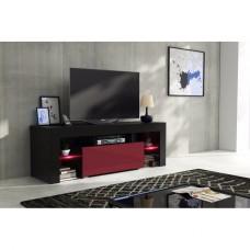 Meuble tv 130 cm corps noir mat et porte laquée bordeaux avec led