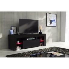 Meuble tv 130 cm corps noir mat et porte laquée avec led