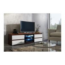 Meuble tv 150 cm noyer et façade blanc laquée