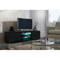 Meuble tv 150 cm noir mat et façade mûre laquée