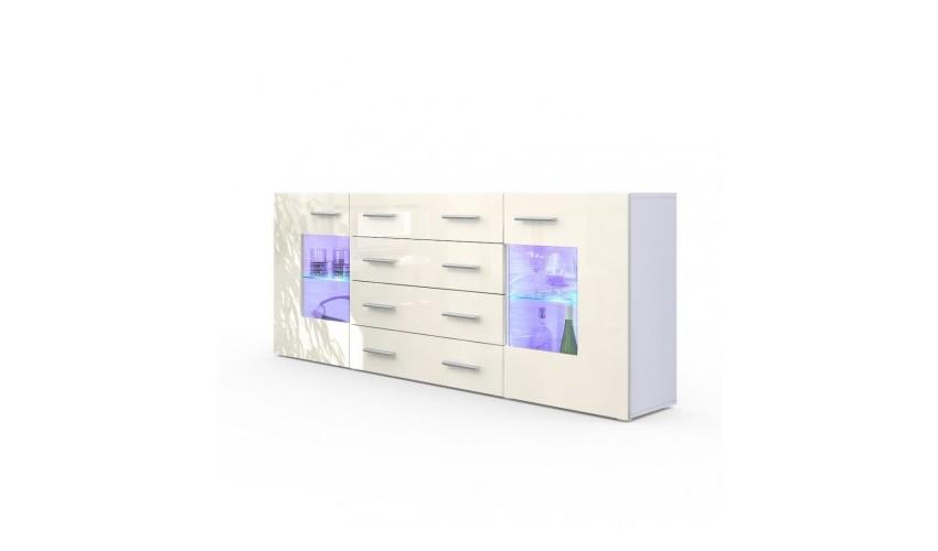 Buffet design blanc mat et crème laqué avec led 166 cm